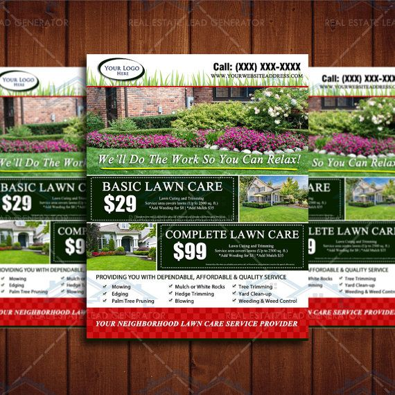 Landscape Commercial Sign: 8.5 X 11 Landscaping Business Flyer Design By The Lawn Market