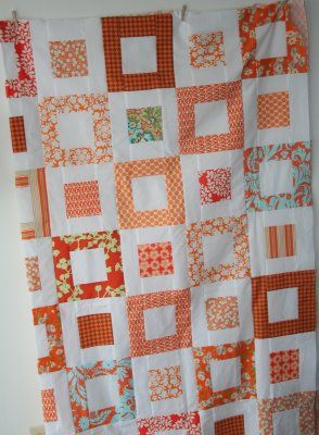 This is the basis for my elephant quilt... though mine has less fabrics so has come out far more traditional looking. :/
