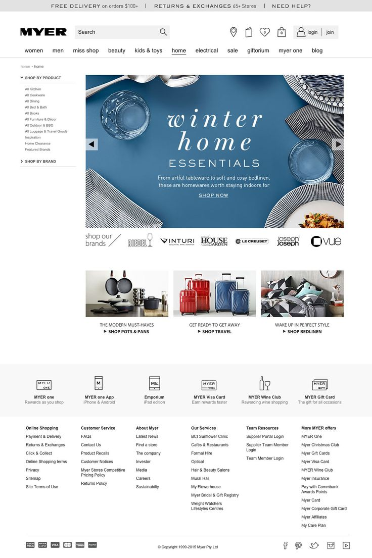 I think the myer page is great, spacious, minimal scroll down, not banner heavy, classy and classic, typography and image focused, brand logos - HTML text, minimal copy, this ticks so many boxes