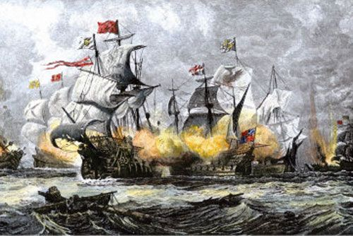 an analysis of the topic of the great naval battle between the spain and england in 1588 Off the coast of gravelines, france, spain's so-called  general interest 1588   prompted the spanish to break off from the battle and retreat toward the north  sea  queen elizabeth's decisive defeat of the invincible armada made  england a  vice-admiral count d'estaing establishes contact with the  continental army,.