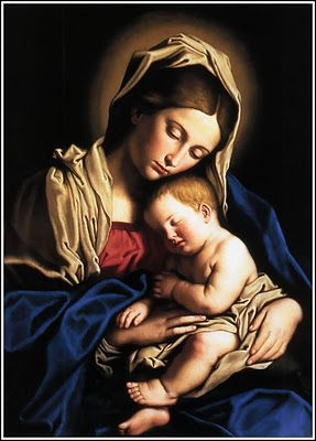 Amid the roses Mary sits and rocks her Jesus-Child While amid the treetops sighs the breeze so warm and mild And soft and sweetly sings a bird upon the bough Ah, Baby, dear one Slumber now. Happy is Thy laughter; holy is Thy silent rest Lay Thy head in slumber fondly on Thy mother's breast Ah, Baby, dear one Slumber now. The Virgin's Slumber Song. Divine Office: Liturgy of the Hours