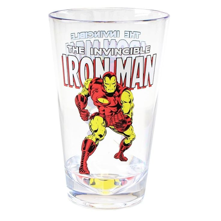 Marvel Retro Iron Man 16oz Shatter-Proof Acrylic Cup, Multi-Colored