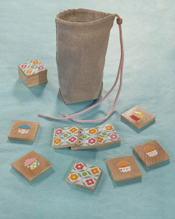 Matching Memory Game Craft. cute game to make for kids! some wood squares, scrapbook paper and mod podge!