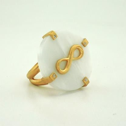 Gold plating mat silver 925 ring with white greek marble Saint Marinas and zircons!!!
