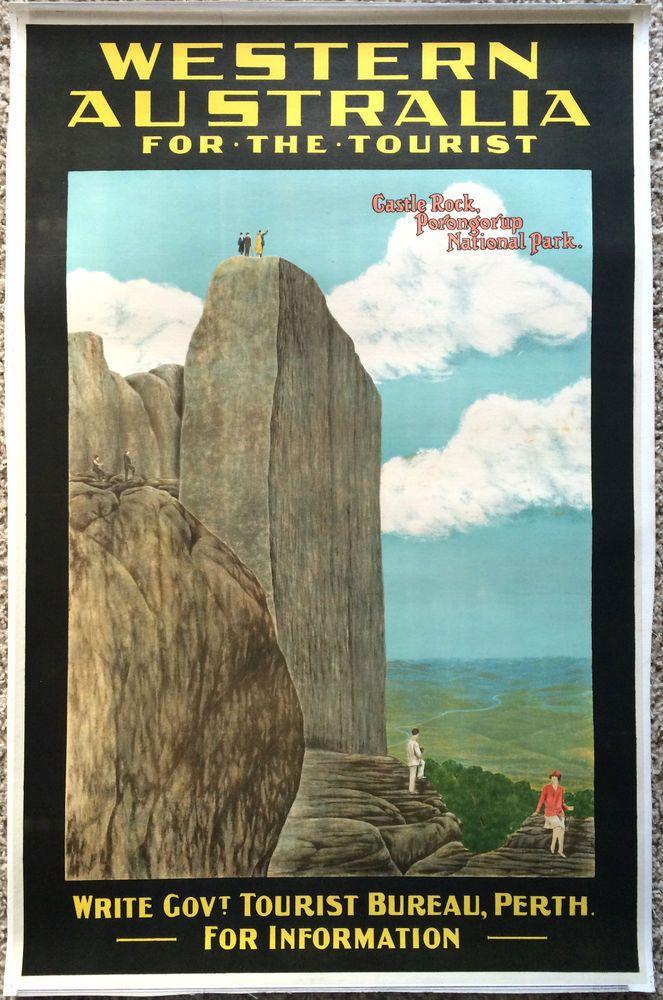 Original Travel Poster Western Australia c1930s 25x37 Perth Castle Rock Vintage #Vintage