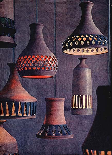 Ceramic Pendant Lamps by Raul Coronel, a Modernist Master Ceramist, who made pots, lamps, sculptures, fountains, ceramic murals & architectural elements from 1956 until 1985 in Southern California.
