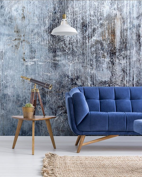 Concrete Blues Wallpaper Wallsauce Us Blue Wallpaper Living Room Kitchen Feature Wall Kitchen Wall Mural Ideas