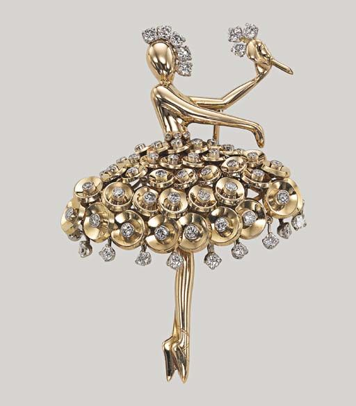 """A GOLD AND DIAMOND """"BALLERINA"""" BROOCH, BY VAN CLEEF & ARPELS, CLIP """"DANSEUSE PAILLETTES"""" OR ET DIAMANTS, PAR VAN CLEEF & ARPELS: Designed as a gold ballerina wearing a dress of gold """"paillettes"""" with diamond detail and holding a diamond flower, made in 1954, 5.5 cm long, with French assay marks for gold and platinum Signed Van Cleef & Arpels, no. 70727"""