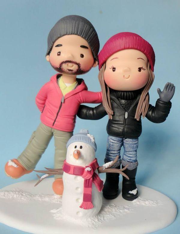 Winter couple cake topper