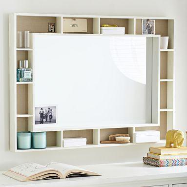 "Pinboard Display Mirror #pbteen :: reg.$249 // sale$239   * 40.5""w x 3""d x 29.5""h * 12 cubbies * white or dark espresso *"
