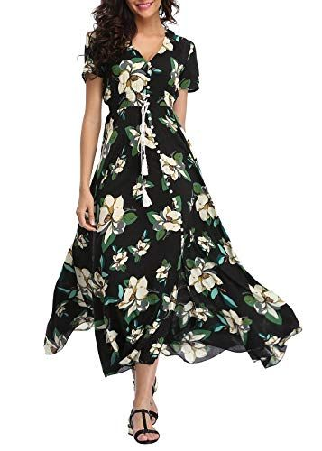 e0afb6870c VintageClothing Women's Floral Print Maxi Dresses Boho Button Up Split  Beach Party Dress at Amazon Women's Clothing store: