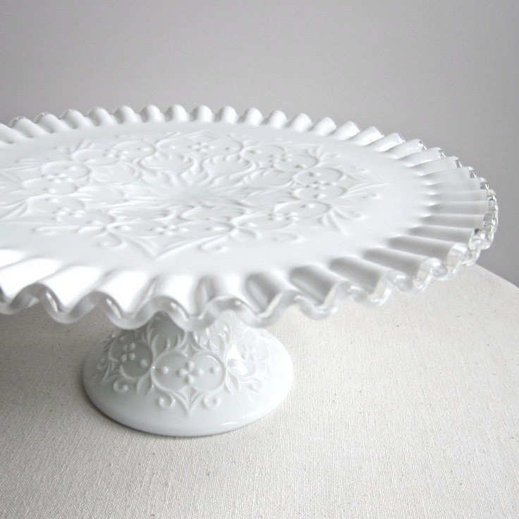 Milk Glass Cake Plate by Fenton  | Silver Crest Spanish Lace | 95.00, via Etsy.