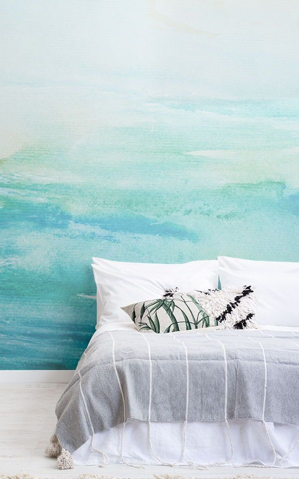 Turquoise Watercolour Wallpaper | Wallpaper bedroom | Turquoise ...