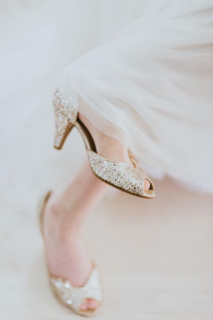 Vintage Inspired Gold Bridal Sparkly Shoes