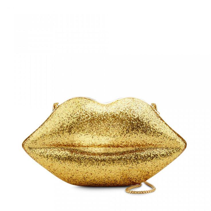 Gold Glitter Perspex Large Lips Clutch
