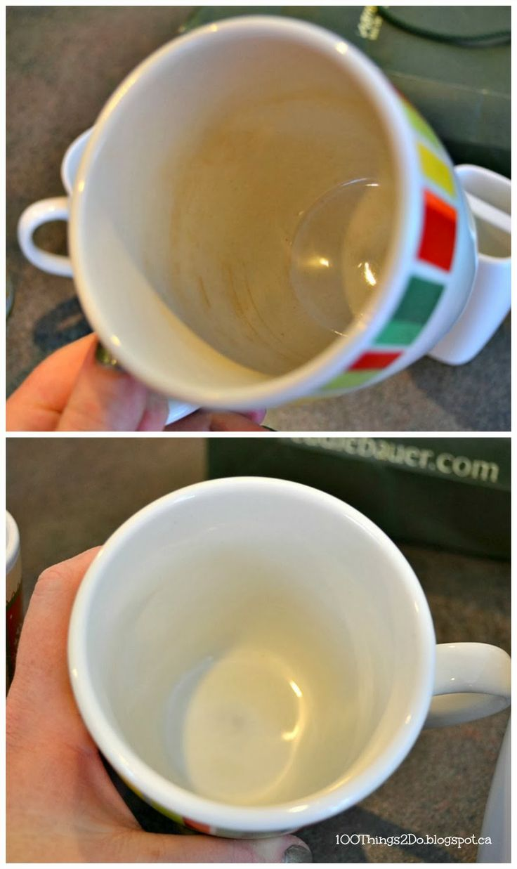 Cleaning tea and coffee stains with ENJO marble paste.