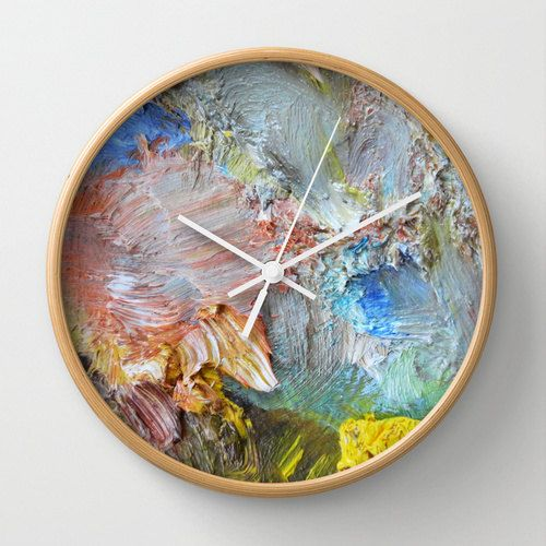Impasto wall clock, abstract photography, oil paints, brushes, apricot, gray, yellow, blue, pink …