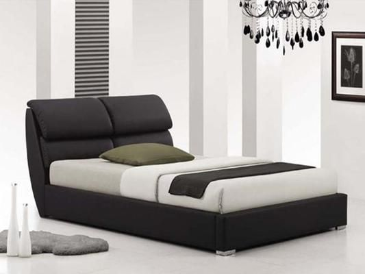Italian Design Pedro King Black PU Leather Wooden Bed Frame