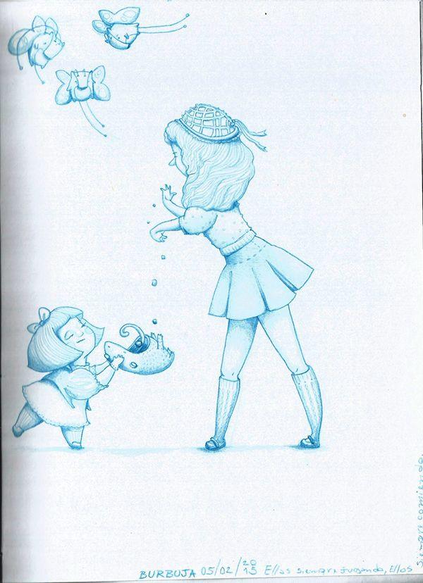 """Ellas siempre jugando, ellos siempre comiendo...Escuchando """"Oscar Peterson Trio-Triste"""", febrero 2015. Sketchbook+lápiz azul."""