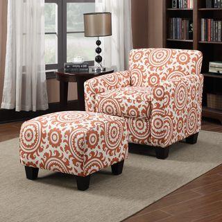 Portfolio Park Avenue Orange Spice Medallion Arm Chair And
