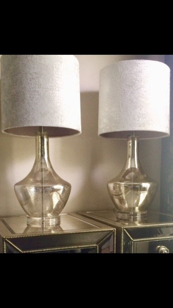 Set Of 2 Mirrored Table Lamps W Suede Shades 100 00 End Date Wednesday Nov 21 2018 17 30 38 Pst It Now For Only