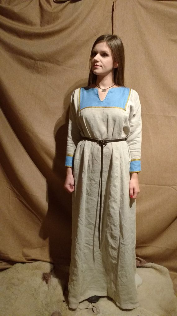 Early medieval natural linen dress, yellow silk deorations, Viking, Rus, Slavic