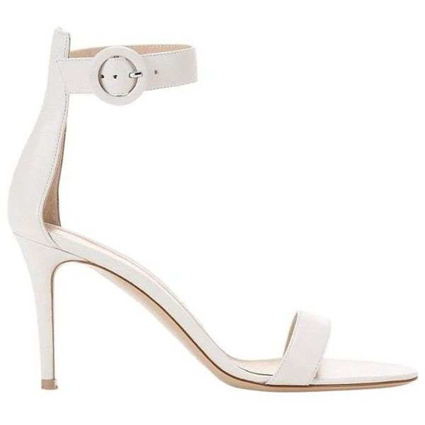 Pre-Owned Gianvito Rossi White Heels Sandals ($340) ❤ liked on Polyvore featuring shoes, sandals, zapatos, white, ankle strap sandals, holiday shoes, cocktail shoes, evening shoes and white shoes