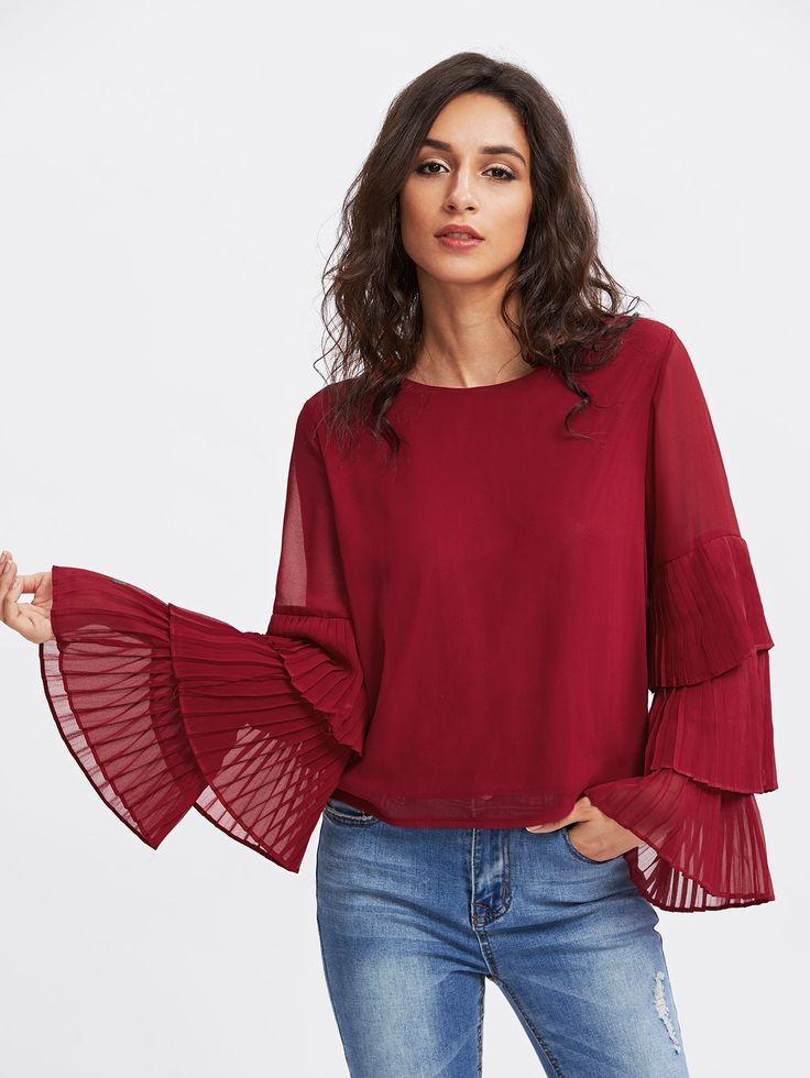 Shop Tiered Frill Sleeve Layered Chiffon Blouse online. SheIn offers Tiered Frill Sleeve Layered Chiffon Blouse & more to fit your fashionable needs.