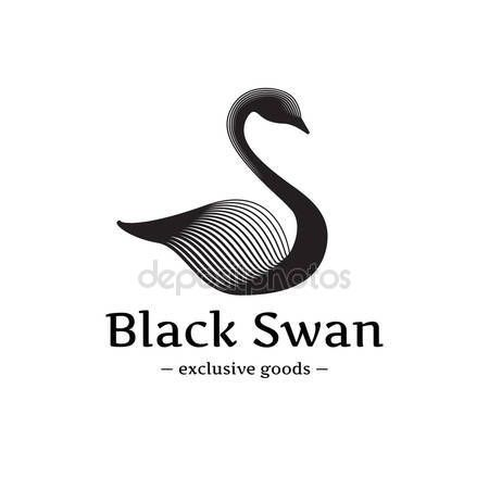 Vector minimalistische zwaan logo. Mooie zwarte inkt stijl logo — Stockillustratie #80980886