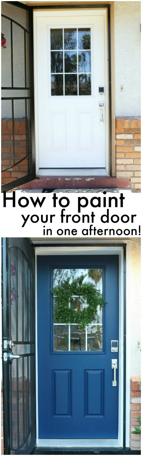 How to paint your front door with @scotchblue painter's tape! - www.classyclutter.net #preppaintpull