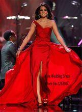 Eine Schulter Geraffte Und Perlen Eine Linie Bodenlangen Abendkleid Perlen Falten Frontseiten-schlitz Red Chiffon Prom Kleider //Price: $US $133.00 & FREE Shipping //     #abendkleider