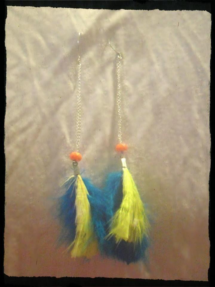 χειροποίητα σκουλαρίκια με φτερά