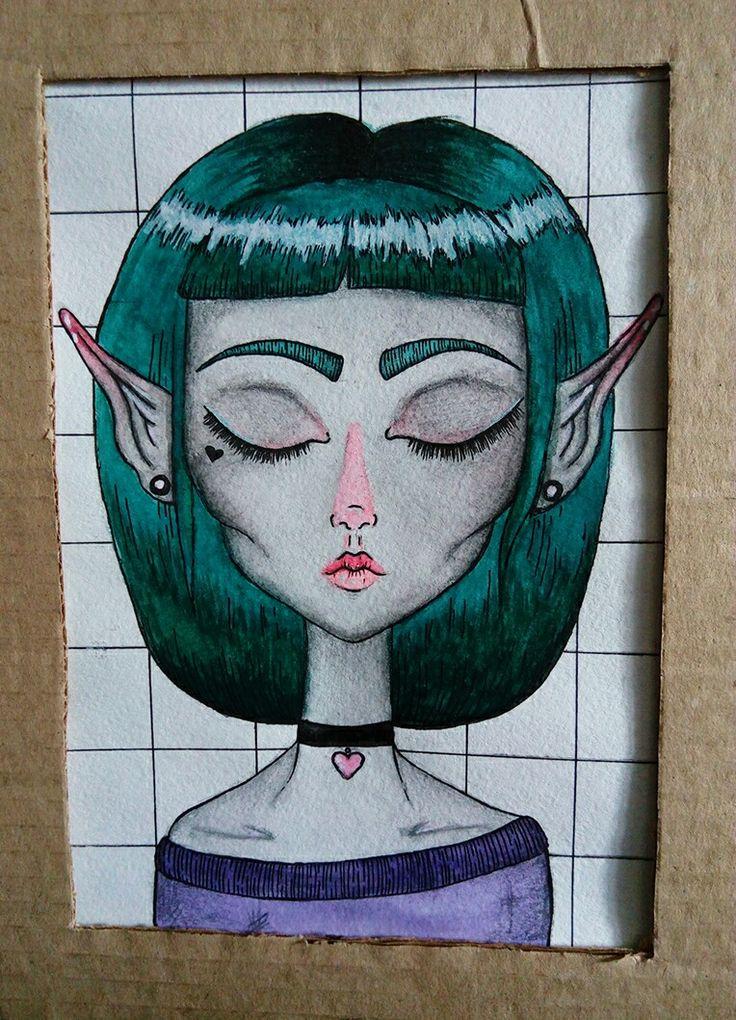 cute girl  #girl #aliengirl #Alien #greenhair #peacockhair #elf #fantasy #beautifulgirl #drawing #draw #aqarelle #watercolor #kawaii #cute