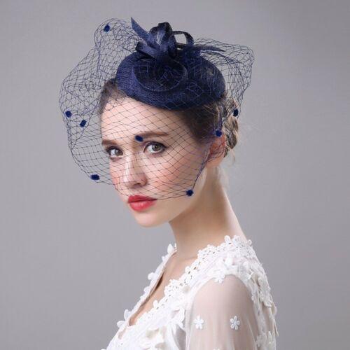 Feather Mesh Fascinators W Headbands Flower Hats Veil For Women Ladies Elegant T