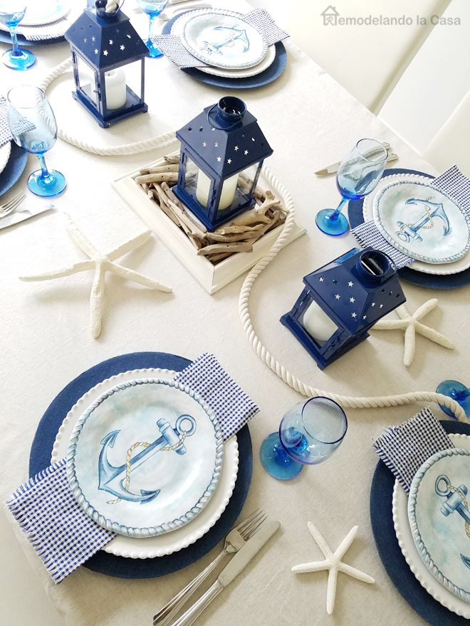 Blue and White Coastal Tablescape