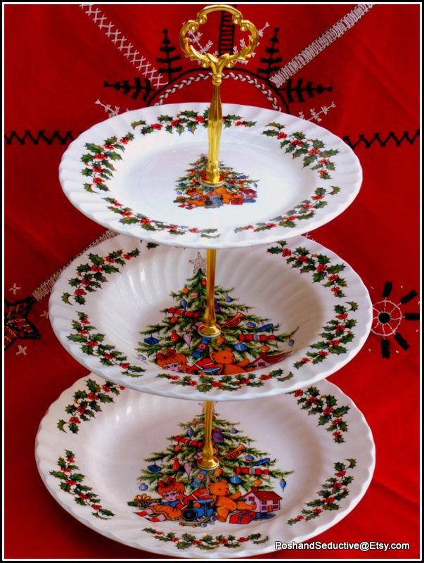 Christmas Tree Three Tier Plates Handmade Cake Stand Iconic Festive By Royal Tudor Grindley Tea Table Centrepiece Traditional English China Handmade Cake Christmas Christmas Tree Pattern