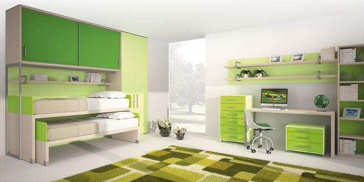 BADROOM - centri camerette specializzati in camere e camerette per ragazzi - Cameretta per bambini a ponte con letti mini castello