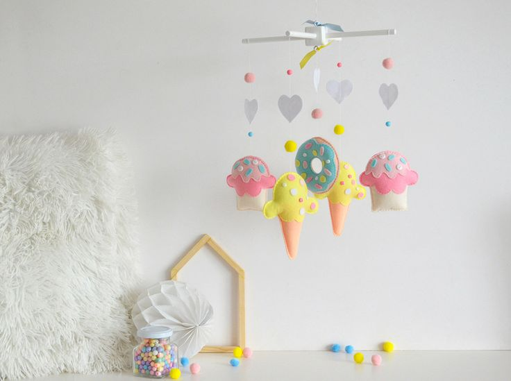 Ready to ship-Baby mobile-Felt baby mobile-Sweet mobile-Ice cream mobile-Donuts mobile-Cupcake mobile-Nursery decor-Nursery mobile-Newborn by AnellasPrettyThings on Etsy https://www.etsy.com/listing/465391173/ready-to-ship-baby-mobile-felt-baby