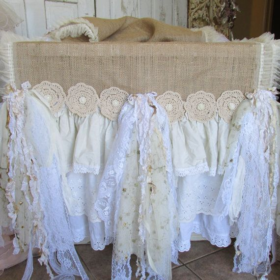 Tablecloth burlap runner shabby style tattered ruffles, lace, crochet petticoat style table dressing anita spero