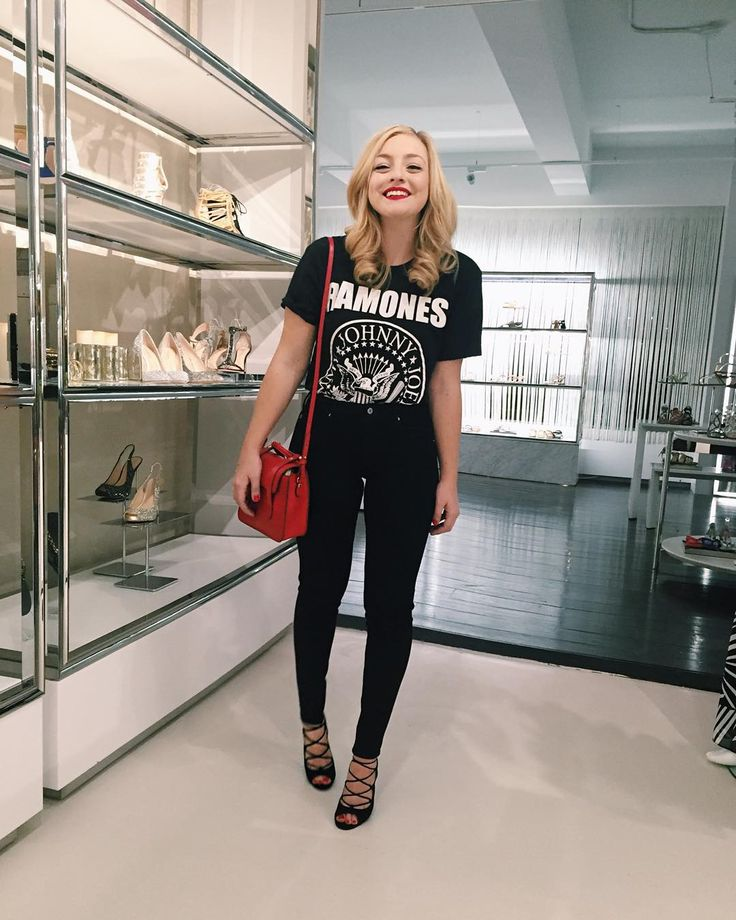 """Happy #TuesdayShoesday! Hanging out at the @VinceCamuto Showroom looking at the gorgeous Holiday collection Y'all like my rock & roll look tonight ?…"""