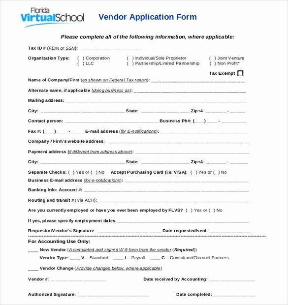 New Vendor Setup Form Excel Template Best Of Vendor Application