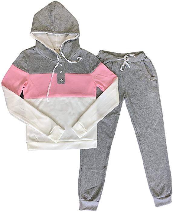Mujer Sudaderas con Capucha Manga Larga E Pantalones Chandal 2 Piezas  Conjuntos Slim Fit Splicing Color 2af62aaa300b