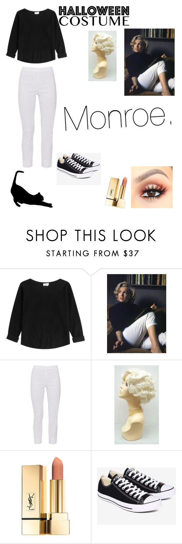 """MARILYN MONROE DIY Halloween costume"" by tennleydawkins ❤ liked on Polyvore featuring Vince, Equestrian, Converse, halloweencostume and DIYHalloween"
