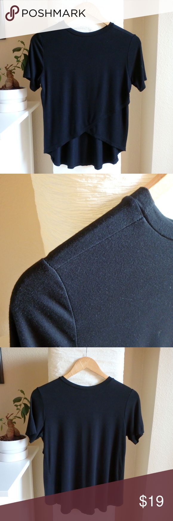 """Open Back Tee in Black Don't Ask Why Soft jersey t-shirt - Made in Italy - One size - Condition: Like new, no holes, stains or pulls - Measurements: Bust: 17 3/4"""", Length (front): 24 5/8"""", Length (back): 16 3/4"""" - Smoke free, pet free home - Thanks for stopping by! American Eagle Outfitters Tops Tees - Short Sleeve"""