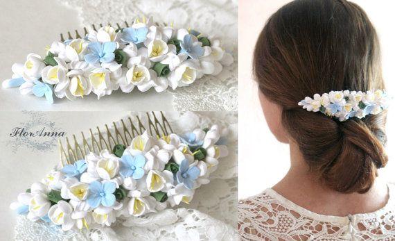 blue comb flower comb wedding stuff bride comb fresia by Mirobel