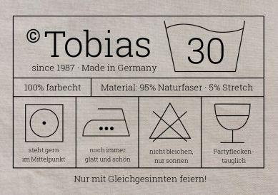 Witzige Waschanleitung-Einladungskarte mit Etikett und Pflegesymbolen zur 30. Geburtstags-Party