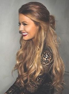 gorgeous long hair curls haircut blonde red lips make up
