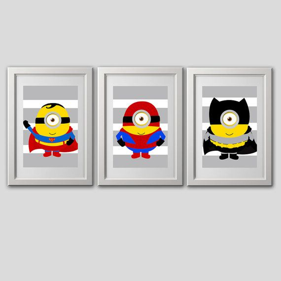 Minion Superhero Wall Art (3) 8x10 PRINTS, shipped fast to your door.