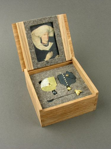 Conscience Earrings with Box by Zoe Arnold - find the detailed box included with earrings bordering on mythos. Lovely.