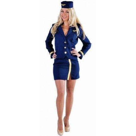 Déguisement Hôtesse de l'air Adulte Bleu Marine (Bleu Navy) Costume 2 pcs chic avec galons or et calot d'Hôtesse de l'air